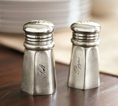"Antique-Silver Salt & Pepper Shakers from PB. Like all the ""Antique"" collection serve ware. Do I want this kind of faded glamour look, or a more relaxed look with colourful rustic pottery?"