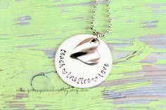 Teach Inspire Love Necklace by youregonnalovethis on Etsy Hand Stamped Teacher's Necklace Teacher Gift Teacher Gift Idea