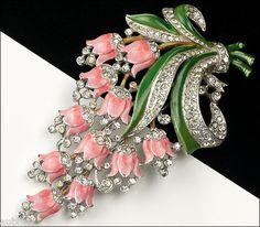 Vintage Crown Trifari Philippe Pink Enamel Floral Bell Flower Fur Clip Pin 1940s | eBay Brenda N is the original pinner of this pin
