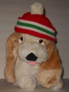 "White Bassett Hound Puppy Dog Plush Stuffed Sad Eyes 12"" Jamesway Red Beanie #Jamesway"