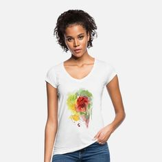Schöne handgemalte Blume Frauen Vintage T-Shirt #spreadshirt T Shirt Vintage, Vintage T-shirts, Vintage Denim, Vintage Ladies, Sport T-shirts, T Shirt Sport, My Socks, Hibiscus, Looking For Women