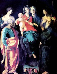 КАРРУЧЧИ ЯКОПО,ПРОЗВАННЫЙ ПОНТОРМО Понтормо,1494-Флоренция,1557.Мадонна с младенцем,со святыми и городской процессией в Верцайо,до 1529. Дерево,228х176см.Пост.в Лувр в 1814.