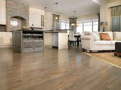 Living Room with a Red Oak hardwood floor in Charcoal stain.