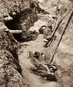 It looks like a scene from World War I, but this photograph shows dead Confederates in the trenches at Petersburg, Va., 1865.