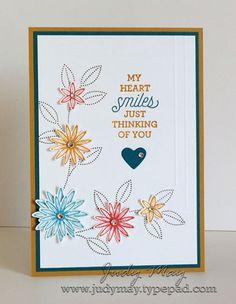 Grateful Bunch, Suite Sayings, Rhinestones, Baker's Box Framelits (heart), Blossom Bunch punch, Simply Scored Board, Stampin' Write markers (Island Indigo, Delightful Dijon)