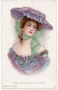 VINTAGE ARTIST DRAWN/PAINTED:GLAMOUR, STYLISH,  WHEN ARE YOU GOING TO WRITE?