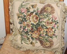 Vintage Needlepoint Tapestry Petit Point Pillow by TreasuresFromUs