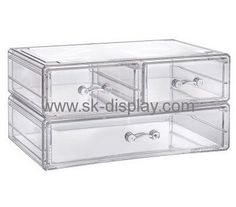 Custom 3 drawer acrylic makeup organizer clear makeup storage drawers large acrylic makeup organizer with drawers CO-275
