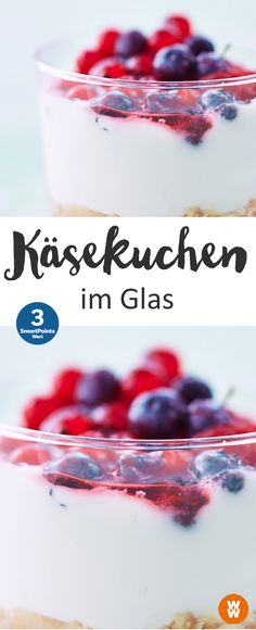 Käsekuchen im Glas | 3 SmartPoints/Portion, Weight Watchers, Desserts, Kuchen, schnell fertig in 10 min.