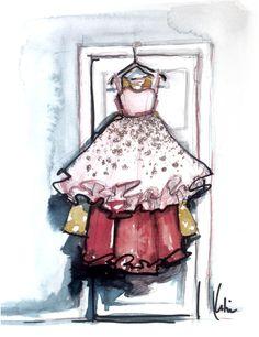 layers of dresses (paperfashion illustration)