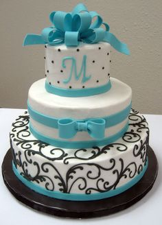 Black and turquoise wedding cake