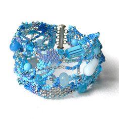 Blue freeform bracelet boho style freeform by Anabel27shop