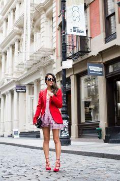 Perfect Match :: Red blazer & Pink ruffles