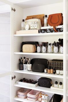Cleaning FAQs: Recycling Diptyque Jars, Favorite Brush Cleansers + Clear Bag Care - The Beauty Look Beauty Product Storage and Organization Home Organisation, Bathroom Organization, Bathroom Storage, Organizing Ideas, Makeup Organization, Organized Bathroom, Diy Storage, Perfume Organization, Organising