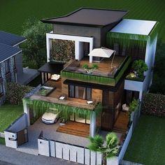 Modern Small House Design, Modern Exterior House Designs, Small House Exteriors, Modern House Facades, Dream House Exterior, Exterior Design, Bungalow Exterior, 3 Storey House Design, House Gate Design