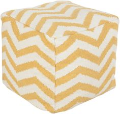 Golden Yellow and Cream Wool Chevron Pouf