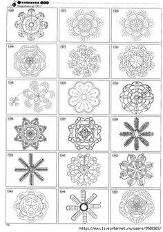 Beautiful and more crochet pattern ~ make handmade - handmade - handicraft Crochet Motif Patterns, Crochet Diagram, Crochet Chart, Crochet Squares, Crochet Designs, Free Crochet, Crochet Snowflakes, Crochet Doilies, Crochet Flowers