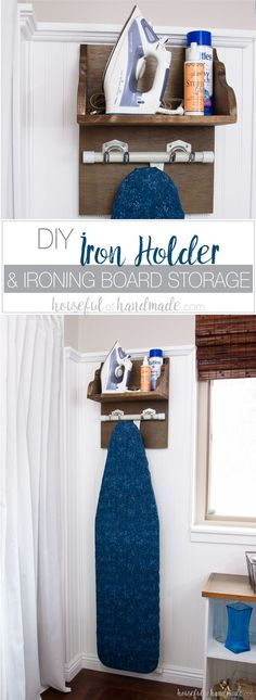 Create the perfect place to store your iron and supplies. This easy DIY Iron Holder with Ironing Board Storage is a quick build that will keep your laundry room or craft room organized. Free build plans on Housefulofhandmade.com | Laundry Room Storage Ide