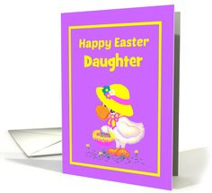 Daughter Easter Custom Relationship Cute Duck w Bonnet and Basket card