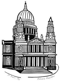 "Pauls"" by Edward Bawden Linocut Prints, Art Prints, Urban Sketchers, Chiaroscuro, London Art, Environmental Art, Print Artist, Wood Print, Digital Illustration"