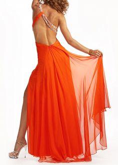 Side Split One Shoulder Draping Crystal Chiffon Prom Dress High Low Prom Dresses, Long Prom Gowns, Salsa, Elegant Dresses, Formal Dresses, Pretty Dresses, One Shoulder Prom Dress, Orange Dress, I Dress