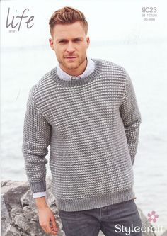 Man's Textured Sweater in Life Aran (9023) | Mens Knitting Patterns | Knitting Patterns | Deramores