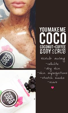 Coconut and coffee scrub takes away scars. The contributions of Coconut Oil (Vit E) towards skin care are well known. It prevents premature aging and wrinkling of the skin, since it has good antioxidant properties. Caffeine present in skin care products can dehydrate fatty cells. Research at the University of Sao Paulo has proven that the application of skin cream containing caffeine can reduce the size of cellulite fat cells by 17%.