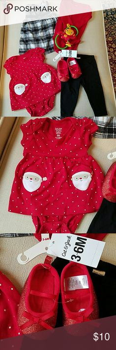 Bundle of 3 month girl outfits Just one you by carter's  3 month's Black plaid jumper with red long sleeve bodysuits and black leggings Red glitter crib shoes 3-6 mo Red Santa dress with bloomer attached inside Adorable Carter's Matching Sets