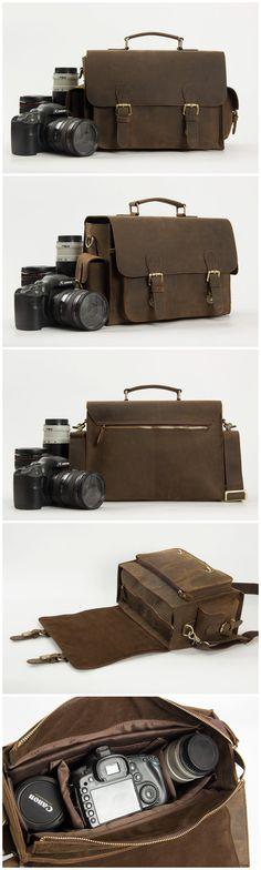 Genuine Leather DSLR Camera Bag /Crossbody Bag/ SLR Camera Bag /Men's Handbag