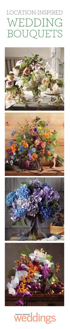 Match these 4 bouquets with the location that inspired them: Tropical island, garden, beach, mountains.