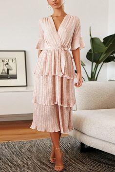 Long Sleeve Midi Dress, Maxi Wrap Dress, Floral Maxi Dress, Boho Dress, Dress Skirt, Pleated Midi Dress, Midi Dress With Sleeves, Midi Dress Outfit, Half Sleeves
