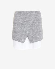 Exclusive for Intermix Double Layer Asymmetric Skirt: The layering effect on this mini skirt creates cool contrast. Button detailing with zipper closure at back. Asymmetric cut. Two pockets. In grey/white. Fabric: 74% cotton/26% polyester Combo: 100% cotton Length from waistline to hem: 16 for size small ...