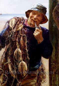 The Fisherman ~ People ~ Counted Cross Stitch Pattern #StoneyKnobFarmHeirlooms #CountedCrossStitch
