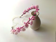Купить Венок - бледно-розовый, венок из цветов, венок на голову, венок для невесты, свадебное украшение
