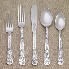 Our forged stainless steel Henna Flatware Collection instantly creates an upscale table while adding an exotic flare to your decor. Featuring slender handles inspired by the time-honored technique of henna with intricate swirls and delicate etchings, this flatware gives your entertaining environment a worldly vibe and looks great when paired with bold table linens. It also transforms everyday meals into special occasions with ease.