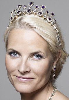 Crown Princess Mette-Marit of Norway wearing the Amethyst Necklace Tiara