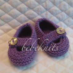 Hand Knit Violet Baby Shoes
