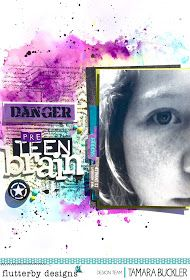 Mixed Media layout at Flutterby designs featuring 'extreme teen' range. Designer Tamara Buckler