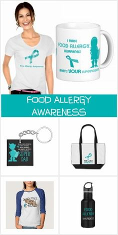 Food Allergy Awareness shirts, totes, buttons, key chains, stickers, water bottles and more. Dairy free, gluten free, peanut free, tree nut free, egg free items. Personalized allergy awareness gear.