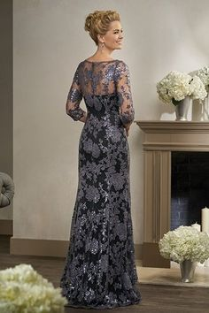 K198006 Long V-neck Sequin Lace MOB Dress with Sleeves