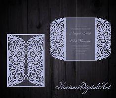 Gate-fold Wedding Invitation Laser Cut Card Pattern Template