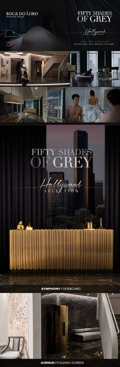 """Fifty Shades of Grey""   Mr Grey apartment . E.L.James . Christian Grey apartment . Valentines Day  Universal Pictures . Design Decoration Furniture .   Boca do Lobo Exclusive Design featured in the film include:  Symphony . Sideboard - http://www.bocadolobo.com/en/limited-edition/sideboards/symphony/ Avenue . Folding Screen - http://www.bocadolobo.com/en/coolors-collection/seating-others/avenue/index.php"