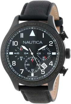 Women's Wrist Watches - Nautica N18685G BFD 105 Stainless Steel Watch with Black Cloth Band * You can get more details by clicking on the image.