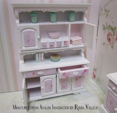 Dollhouse Miniature Shabby Chic Kitchen   Miniature dollhouse shabby chic dining room kitchen hutch with rose p ...