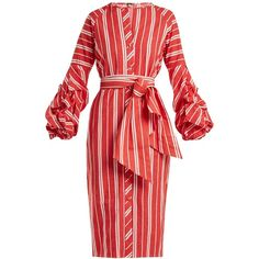 Johanna Ortiz Striped balloon-sleeve linen dress ($1,315) ❤ liked on Polyvore featuring dresses, red, bell sleeve dress, linen dress, striped linen dress, stripe dress and striped dresses