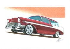 Marker and chalk rendering of the '57 Nomad form Overhaulin.