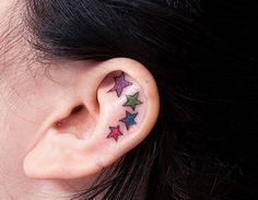 Star ear tattoo - 55 Incredible Ear Tattoos  <3 <3