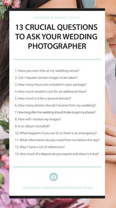 Real questions to ask your wedding photographer Infographic/cheatsheet