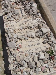 Oskar Schindler's Grave, Mt. Zion, Jerusalem. A Jewish custom to leave stones instead of flowers. Stones last forever.