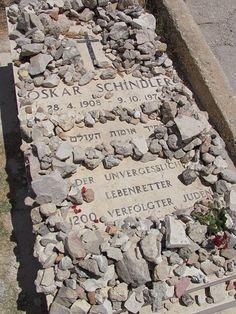 Oskar Schindler's Grave, Mt. Zion, Jerusalem. A Jewish custom to leave stones instead of flowers. Stones last forever.